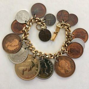VTG Queen Elizabeth II South Africa Coin Bracelet